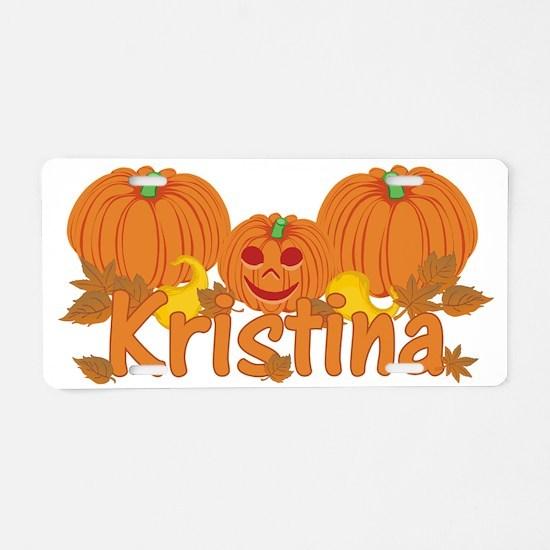 Halloween Pumpkin Kristina Aluminum License Plate