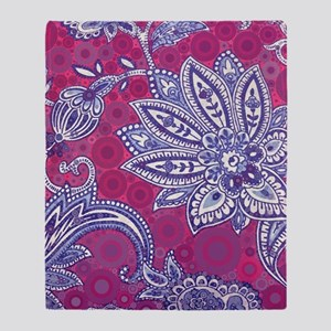modern fuschia paisley blue flora pr Throw Blanket