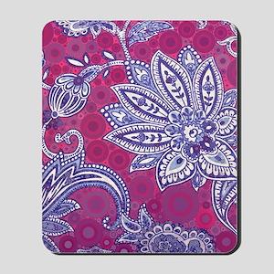 modern fuschia paisley blue flora prints Mousepad