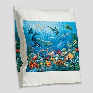 Oceanscape Burlap Throw Pillow