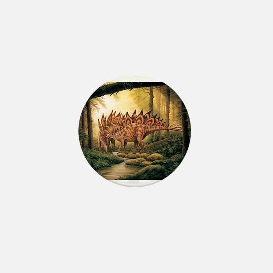 Stegosaurus Pair in Forest Mini Button