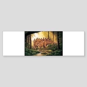 Stegosaurus Pair in Forest Bumper Sticker