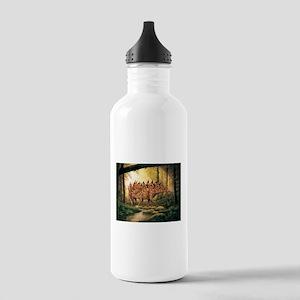 Stegosaurus Pair in Forest Water Bottle