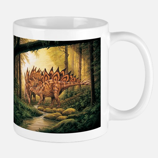 Stegosaurus Pair in Forest Mugs