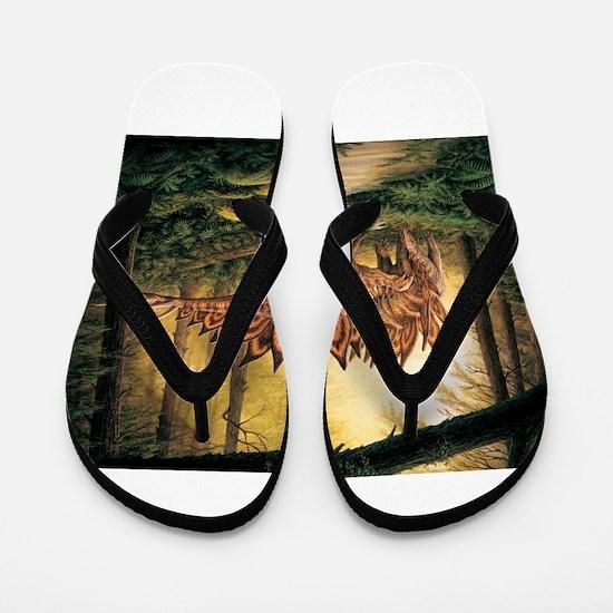 Stegosaurus Pair in Forest Flip Flops