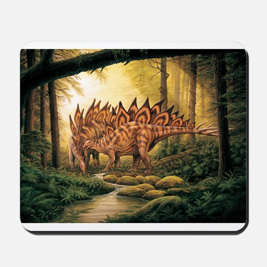 Stegosaurus Pair in Forest Mousepad