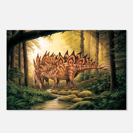 Stegosaurus Pair in Forest Postcards (Package of 8
