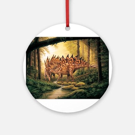 Stegosaurus Pair in Forest Ornament (Round)