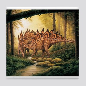 Stegosaurus Pair in Forest Tile Coaster