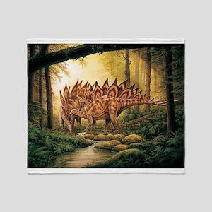 Stegosaurus Pair in Forest Throw Blanket