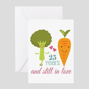 25 Year Anniversary Veggie Couple Greeting Cards