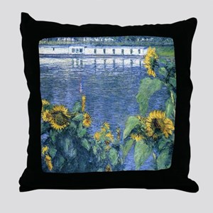 Sunflowers on the Banks of the Seine  Throw Pillow