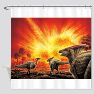 Parasaurolophus Meteor Strike Shower Curtain