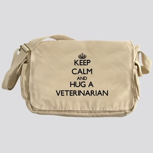 Keep Calm and Hug a Veterinarian Messenger Bag