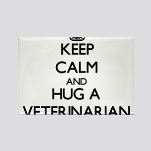 Keep Calm and Hug a Veterinarian Magnets