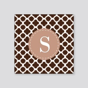 Quatrefoil Pattern Brown and White with Monogram S