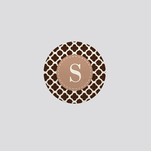 Quatrefoil Pattern Brown and White with Monogram M