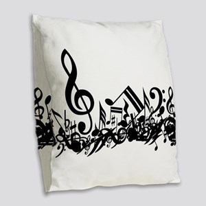 Black Muddled Musical notes Burlap Throw Pillow