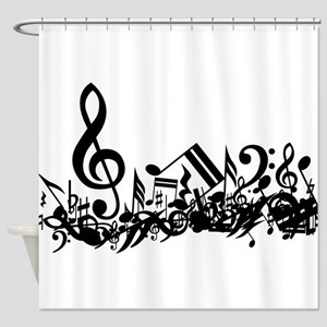 Black Muddled Musical notes Shower Curtain