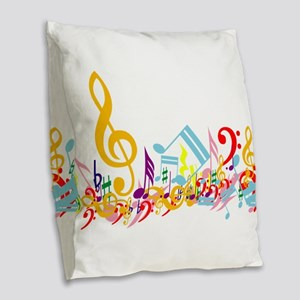 Colorful Musical Notes Burlap Throw Pillow