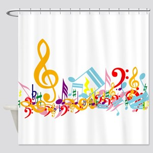 Colorful Musical Notes Shower Curtain