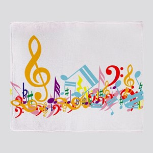 Colorful Musical Notes Throw Blanket