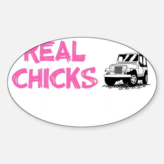 Real Chicks Drive Sticks - Hot Pink Sticker (Oval)