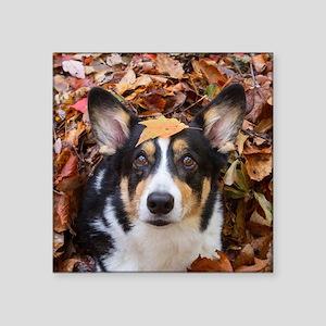 "Corgi and Fall Leaves Square Sticker 3"" x 3"""