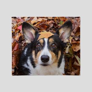Corgi and Fall Leaves Throw Blanket