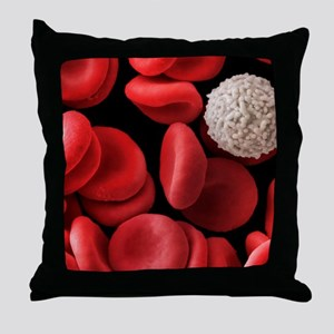 Red and white blood cells, SEM Throw Pillow