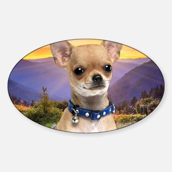 Chihuahua Meadow (blanket) Sticker (Oval)
