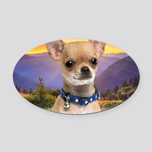 Chihuahua Meadow (blanket) Oval Car Magnet