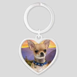 Chihuahua Meadow (blanket) Heart Keychain