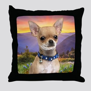 Chihuahua Meadow (blanket) Throw Pillow