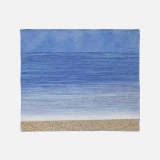 Blue Ocean Beach Throw Blanket