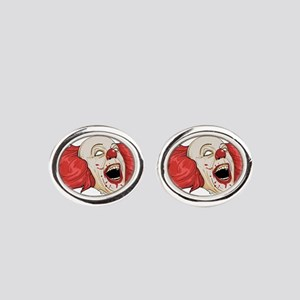 halloween evil clown Oval Cufflinks