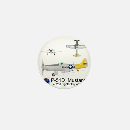 P-51 Mustang 462nd Fighter Squadron Mini Button