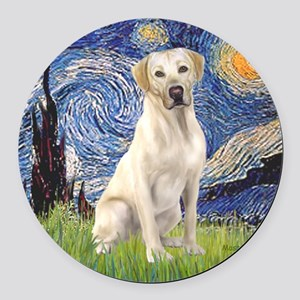 StarryNight (T) - YellowLab7 Round Car Magnet