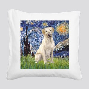 StarryNight (T) - YellowLab7 Square Canvas Pillow
