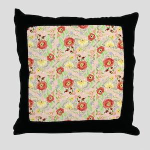 Mod Floral Ranunculus Flower w Daisy  Throw Pillow