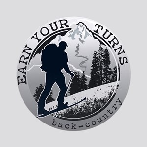 earn your turns black Round Ornament
