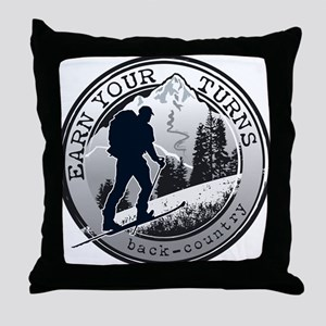 earn your turns black Throw Pillow