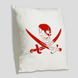 Pirate Skull Burlap Throw Pillow