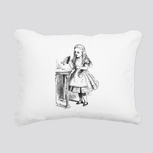 Alice & Drink Me Bottle Rectangular Canvas Pillow