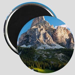 Peak in Dolomites called Sassongher at sunr Magnet