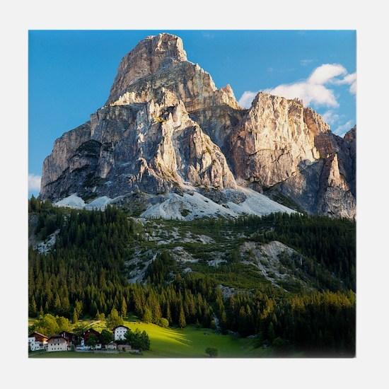 Peak in Dolomites called Sassongher a Tile Coaster