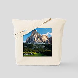 Peak in Dolomites called Sassongher at su Tote Bag
