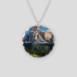 Peak in Dolomites called Sas Necklace Circle Charm