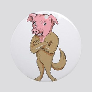 Pig Dog Standing Arms Crossed Cartoon Round Orname