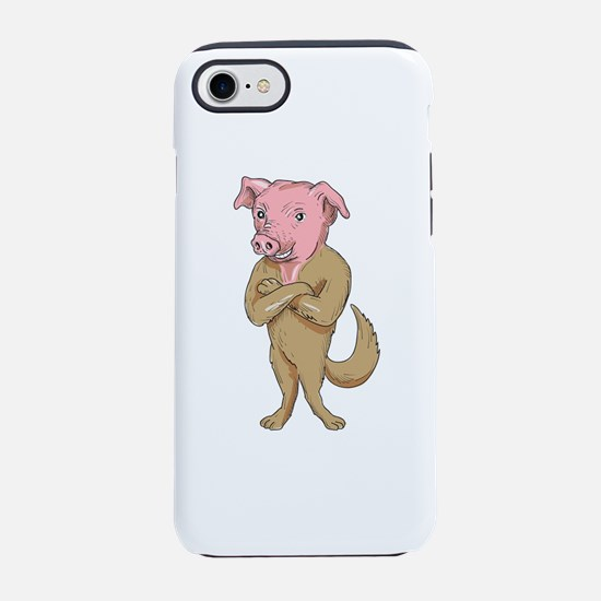Pig Dog Standing Arms Crossed Cartoon iPhone 7 Tou